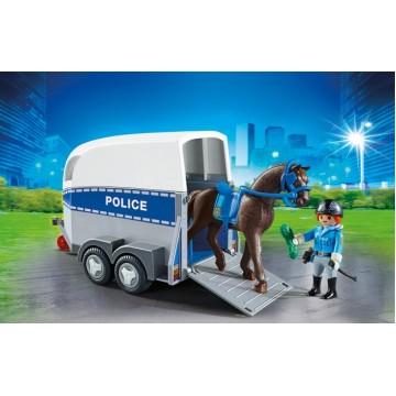 Полиция с лошадью и прицепом